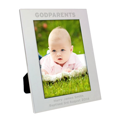 Engraved Silver 5x7 Godparents Frame - Under A Rainbow