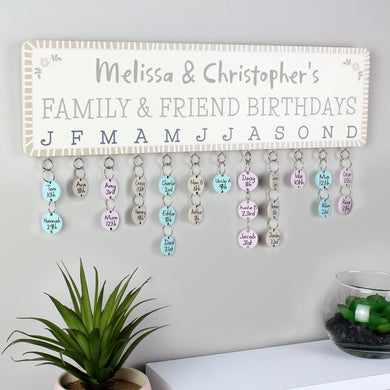 Personalised Birthday Planner Plaque with Customisable Discs - Under A Rainbow