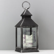 Load image into Gallery viewer, Personalised Soft Watercolour Rustic Black Lantern - Under A Rainbow