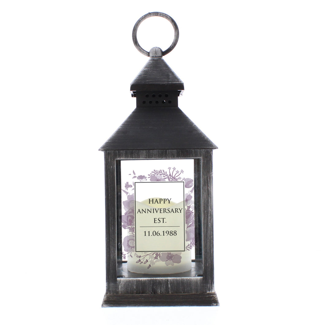 Personalised Soft Watercolour Rustic Black Lantern - Under A Rainbow
