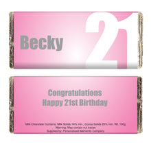 Load image into Gallery viewer, Personalised Pink Number Milk Chocolate Bar