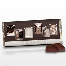 Load image into Gallery viewer, Personalised Affection Art Mr & Mrs Milk Chocolate Bar
