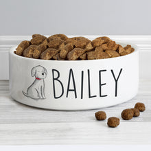 Load image into Gallery viewer, Personalised Scribble Dog 14cm Medium Pet Bowl