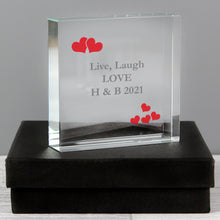 Load image into Gallery viewer, Personalised Red Hearts Large Crystal Token