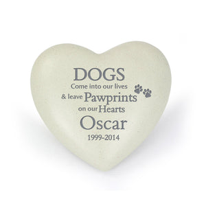 Personalised Dog Pawprints Heart Memorial - Under A Rainbow