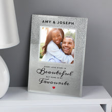 Load image into Gallery viewer, Personalised Every Love Story Is Beautiful 4x4 Glitter Glass Photo Frame