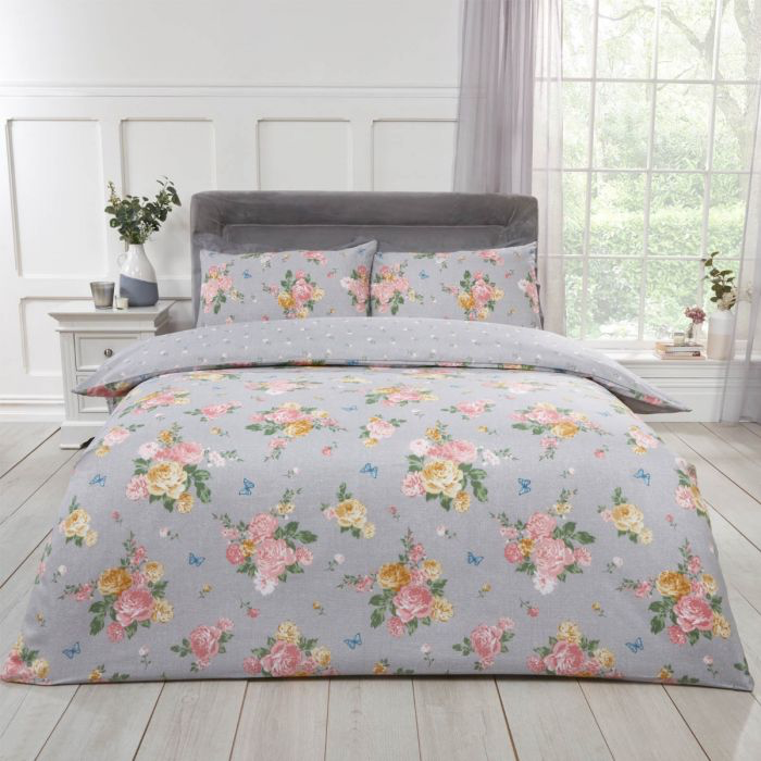 BLUSHING ROSE DUVET SET - GREY