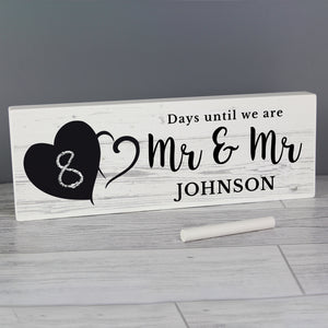 Personalised Rustic Chalk Countdown Wooden Block Sign