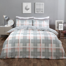Load image into Gallery viewer, DENIM CHECK DUVET COVER SET - GREY/BLUSH