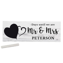 Load image into Gallery viewer, Personalised Rustic Chalk Countdown Wooden Block Sign