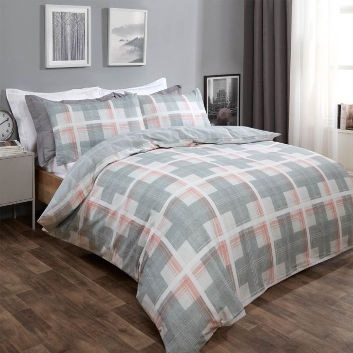 DENIM CHECK DUVET COVER SET - GREY/BLUSH