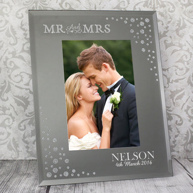 Personalised Mr and Mrs 6x4 Diamante Glass Photo Frame - Under A Rainbow