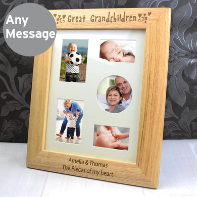Personalised 10x8 Great Grandchildren Wooden Photo Frame - Under A Rainbow