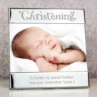Engraved Silver Christening Square Frame - Under A Rainbow