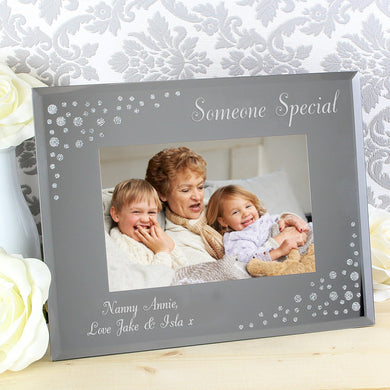 Personalised Any Message Diamante Landscape 6x4 Glass Photo Frame - Under A Rainbow