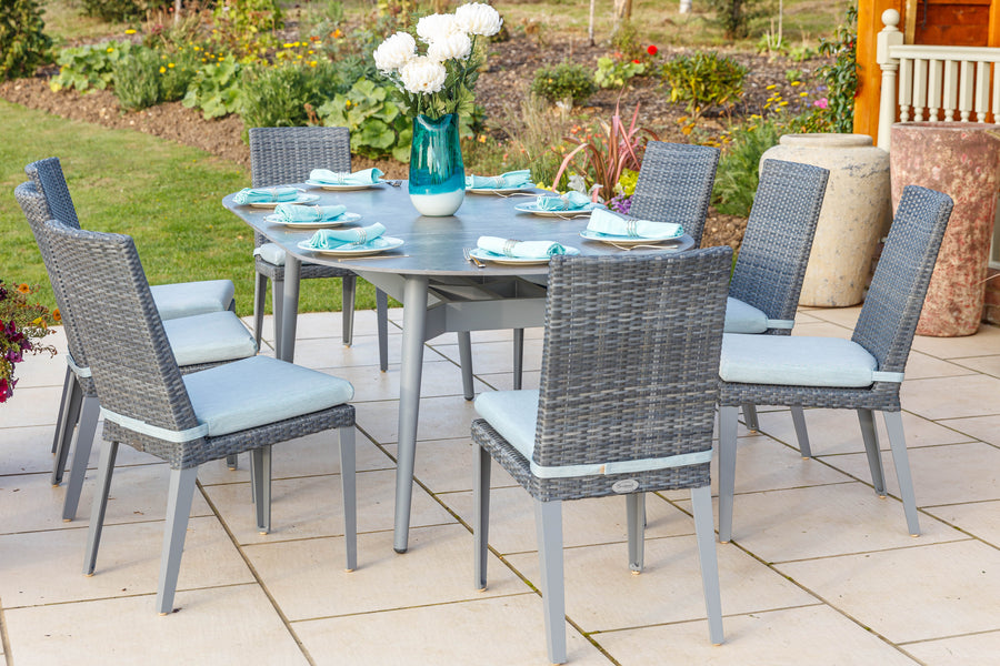 220cm Henley Ceramic Slate and Aluminium Dining Table with 8 Hampstead Dining Chairs