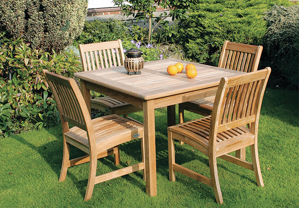 100cm Teak Club Square Dining Table with 4 Club Dining Chairs