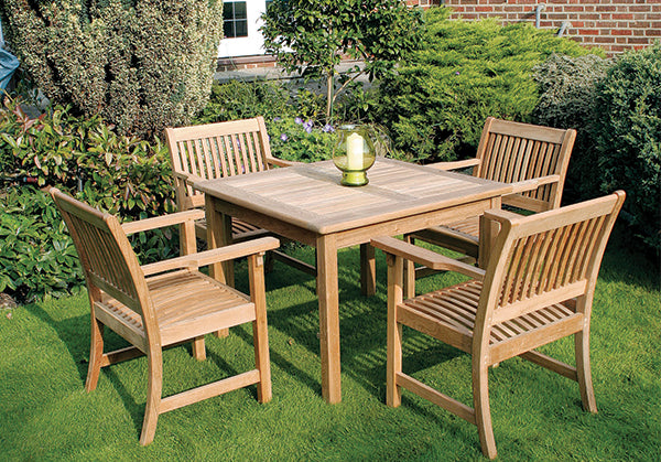 100cm Teak Club Square Dining Table with 4 Club Dining Armchairs