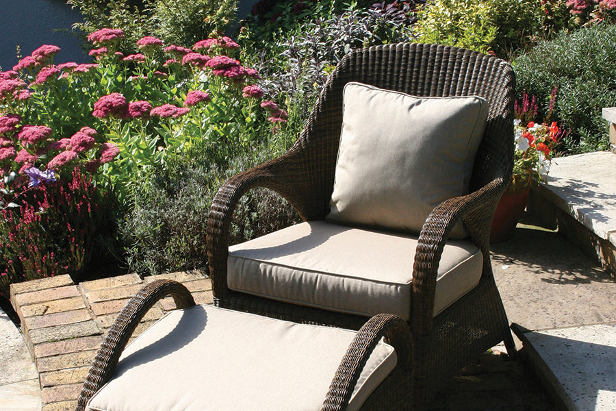 Sussex Lounge Armchair with Waterproof Beige Cushion - Mocha