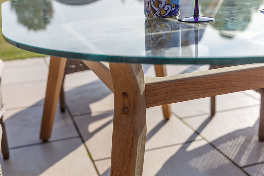 100cm Henley Glass and Teak Dining Table with 2 Cliveden Dining Armchairs