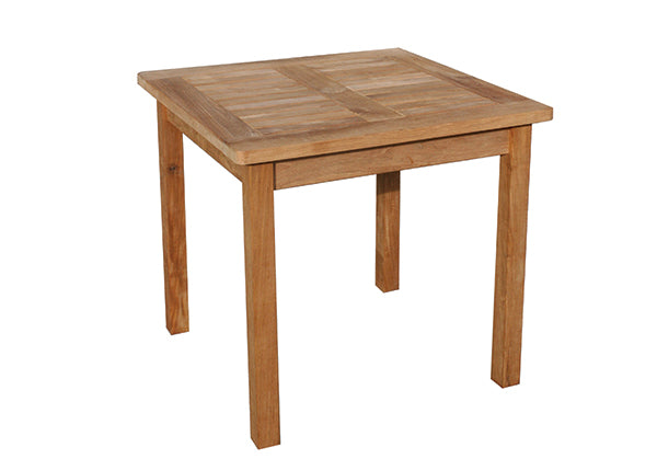 Teak 80cm Club Square Dining Table with 4 Club Stacking Armchairs