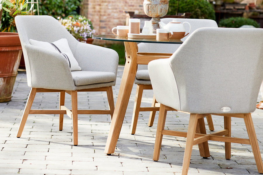 100cm Henley Glass and Teak Dining Table with 4 Richmond Armchairs