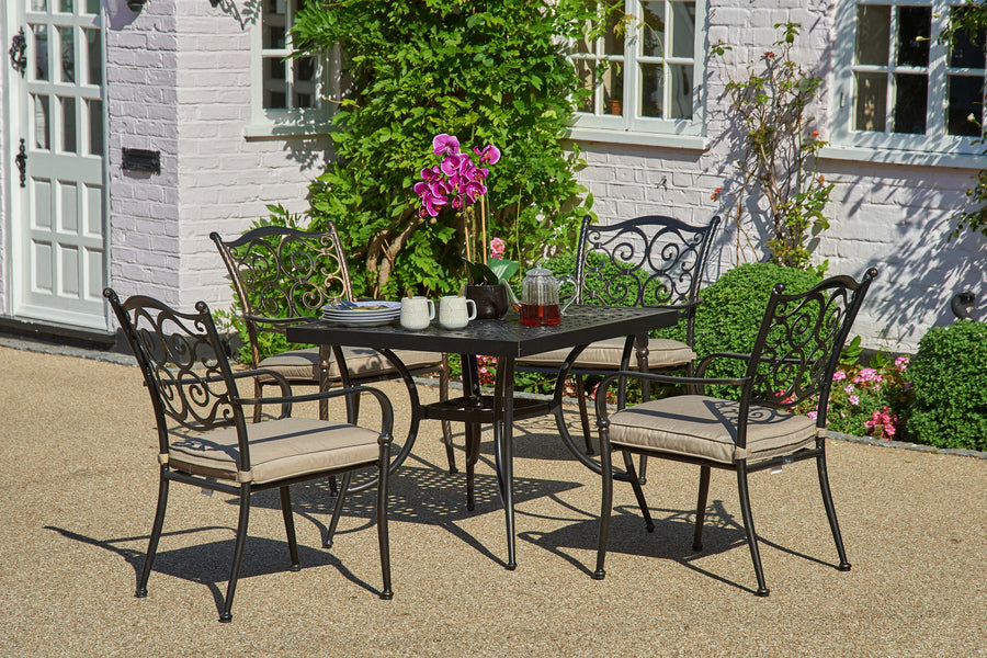 90cm Sorrento Square Dining Table with 4 Stacking Armchairs