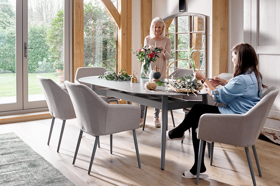 220cm Henley Ceramic Slate and Aluminium Dining Table with 8 Richmond Armchairs