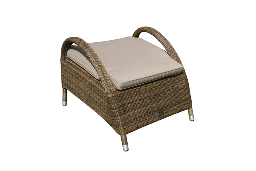 Sussex Footstool with Waterproof Beige cushion – Mocha