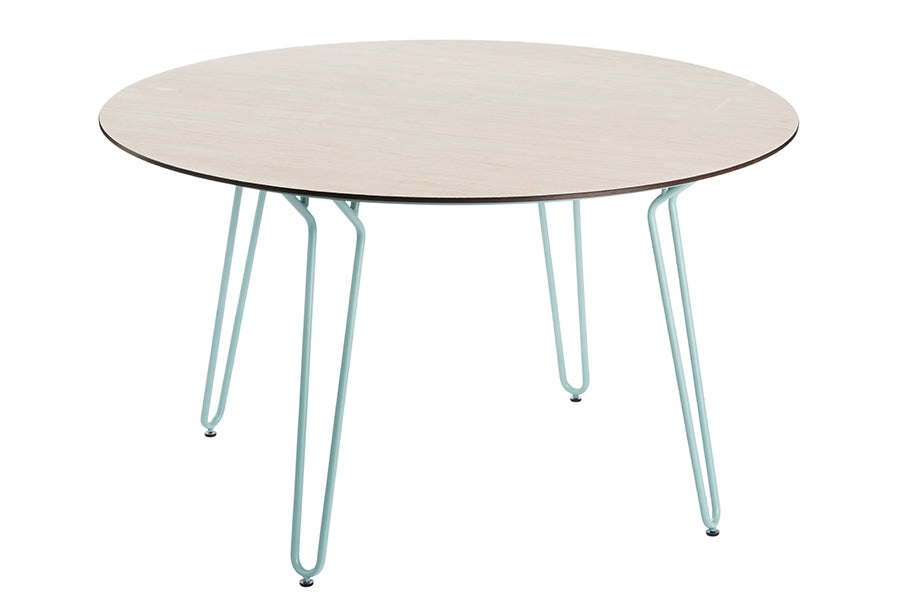 130cm Remy Blue/Natural Round Dining Table with 4 Blue Stacking Armchairs