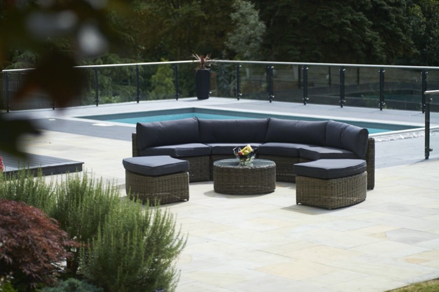 7 Piece Mayfair Curved Modular Rattan Garden Furniture Set