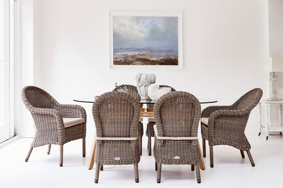 180cm Henley Glass and Teak Dining Table with 2 Kensington Dining Armchairs and 4 Kensington Dining Chairs