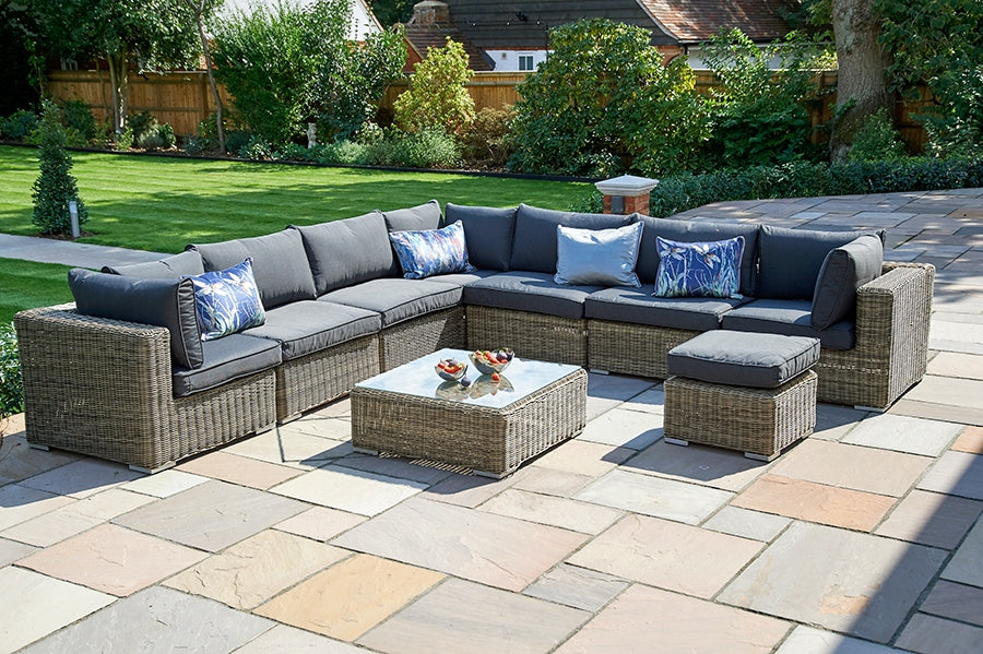 9 Piece Mayfair Modular Rattan Garden Furniture Set P