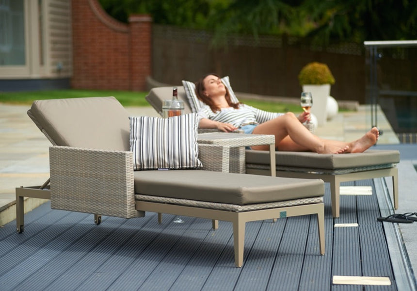 Two Hampstead Sun Loungers with Hampstead Side Table - Stone