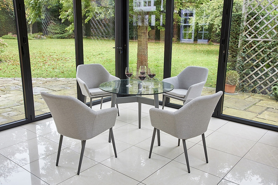 100cm Henley Glass and Aluminium Dining Table with 4 Richmond Armchairs