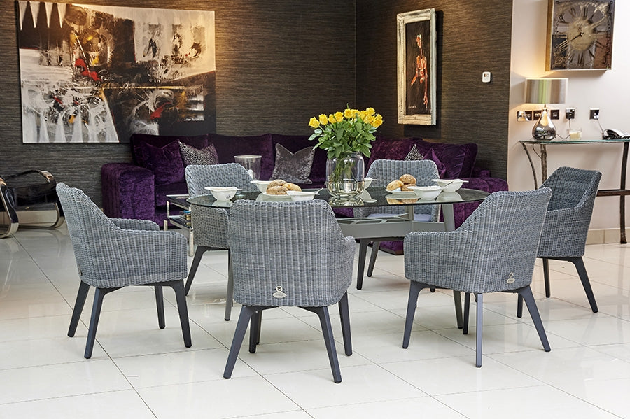 180cm Henley Glass and Aluminium Dining Table with 6 Cliveden Dining Armchairs