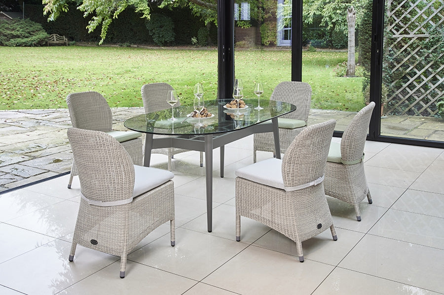 180cm Henley Glass and Aluminium Dining Table with 6 Sussex Dining Chairs
