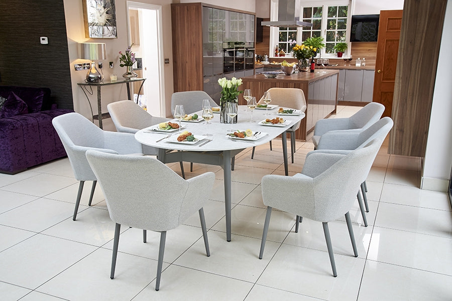 220cm Henley Ceramic Marble and Aluminium Dining Table with 8 Richmond Armchairs