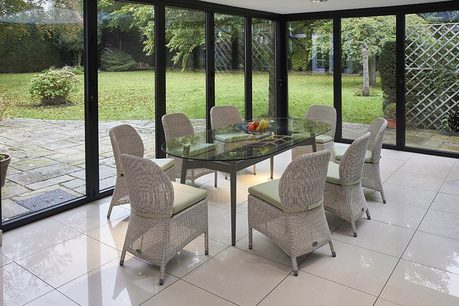 230cm Henley Glass and Aluminium Dining Table with 8 Sussex Dining Chairs