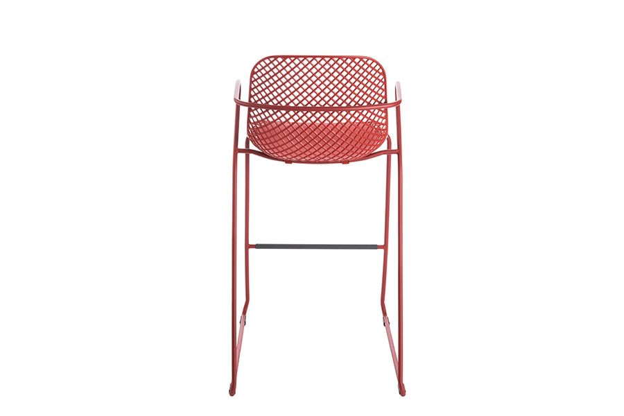 70cm Paris Volcano/Grey Square Bar Table with 2 Remy Red Stacking Bar Stools