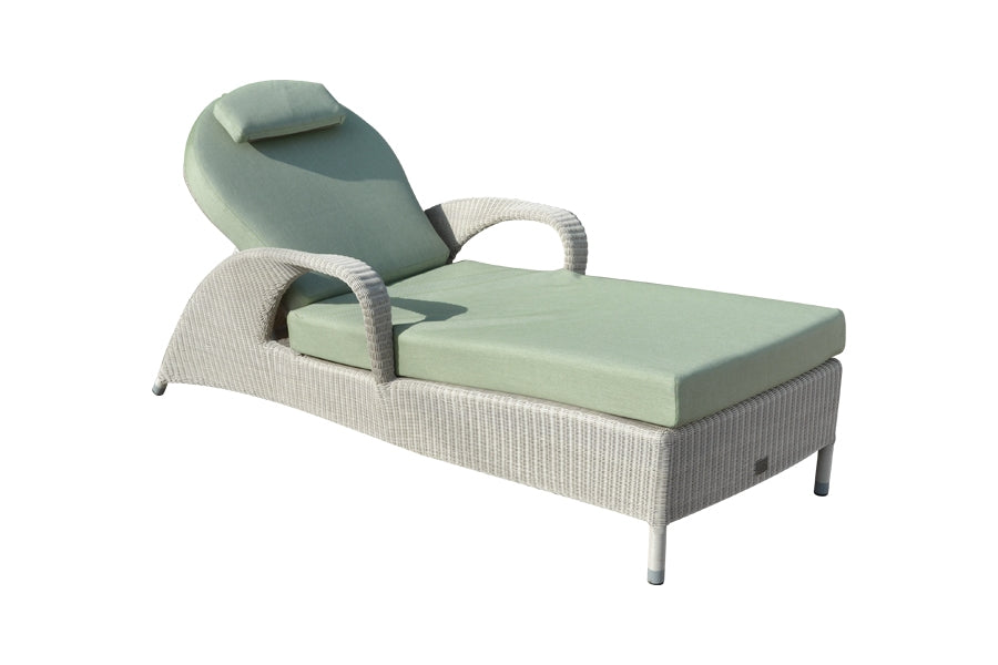 2 Sussex Sun Loungers with Square Side Table - Soft White