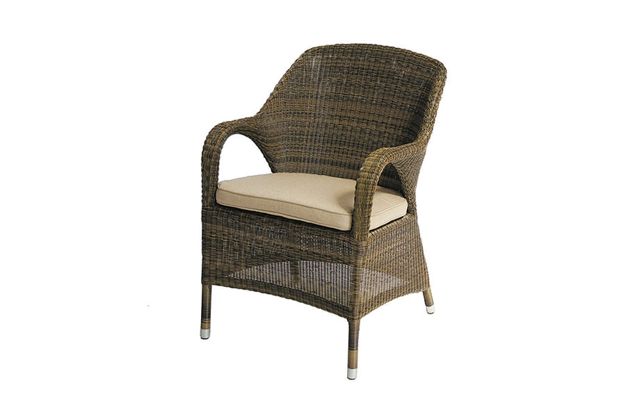 Sussex Dining Armchair with Waterproof Beige cushion - Mocha