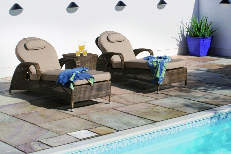 Sussex Sun Lounger with Waterproof Beige cushion - Mocha