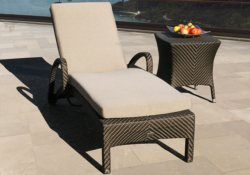 Two Windsor Stacking Sun Loungers with Square Side Table - Bronze