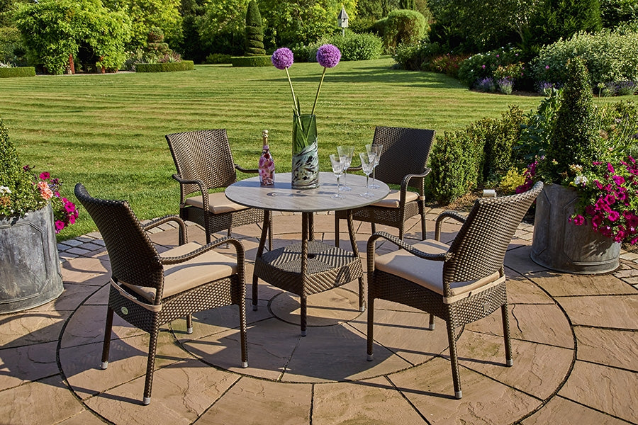 90cm Windsor Round Dining Table with 4 Stacking Armchairs - Bronze