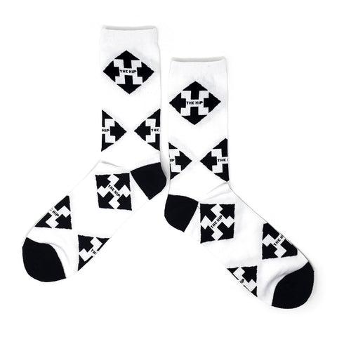 The Hip  Custom Jacquard Knit Socks - Arrow Multi Logo