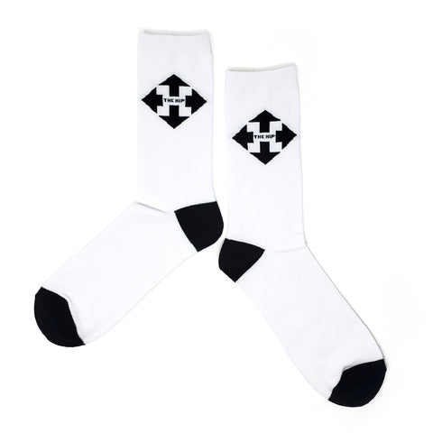 The Hip  Custom Jacquard Knit Socks - Arrow Large single Logo