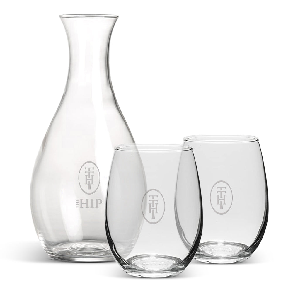 Stemless Wine Glasses and Carafe: Three-Piece Set
