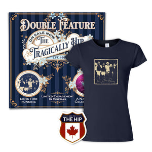Women's Long Time Running T-Shirt, Double Feature Poster & Crest Sticker Bundle