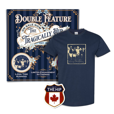 Unisex Long Time Running T-Shirt, Double Feature Poster & Crest Sticker Bundle